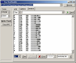 tinybld tiny pic bootloader terminal software